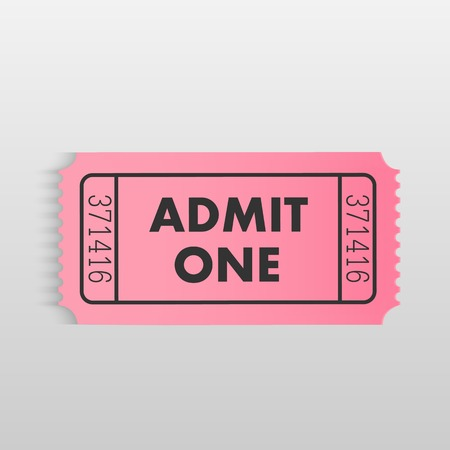 admit: Illustration of a colorful pink admit one ticket isolated on a white background. Illustration