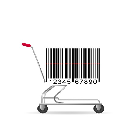 Illustration of an abstract barcode shopping cart isolated on a white background.