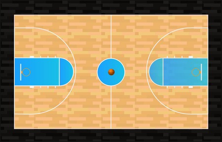 Illustration of a basketball court with basketball. Illustration