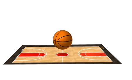 Illustration of a basketball court and ball.