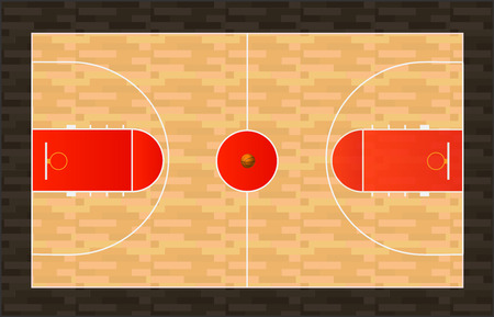 Illustration of a basketball court with wooden floor.