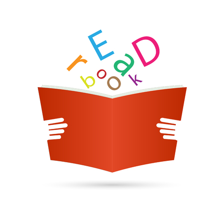 Illustration of a book with text isolated on a white background. Vector