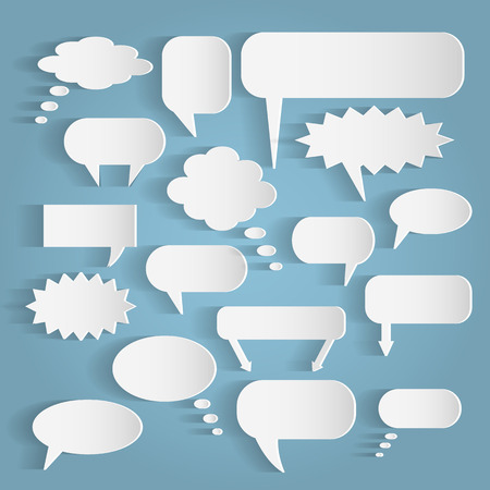 Illustration of various paper chat bubbles against a light background.