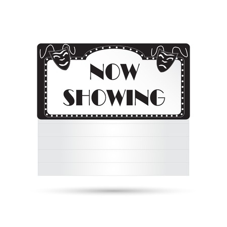 Illustration of a vintage cinema sign isolated on a white background.
