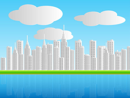 Illustration of a city skyline with water and sky background. Vector