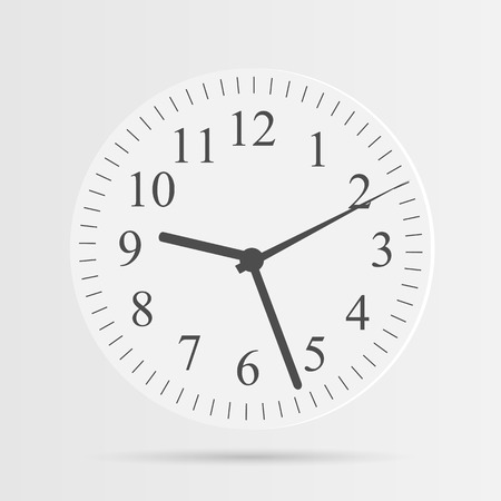 round face: Illustration of a clock isolated on a white background. Illustration