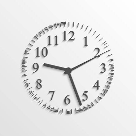 Illustration of a clock on a light background with shadows. Vector