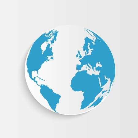 Illustration of an earth button isolated on a white background. Vector