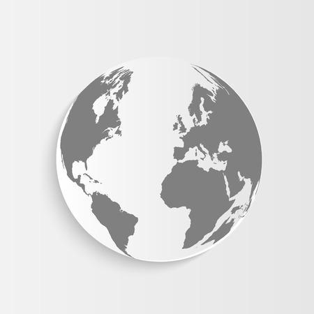 Illustration of an earth button isolated on a light background color. Vector