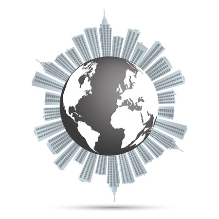 Illustration of a city around the earth isolated on a white background.
