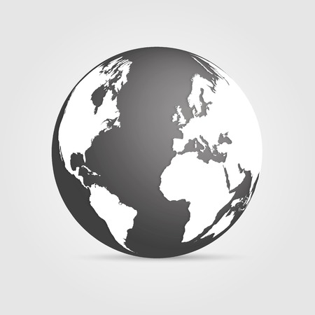 Illustration of a gray earth isolated on a white background. Vector