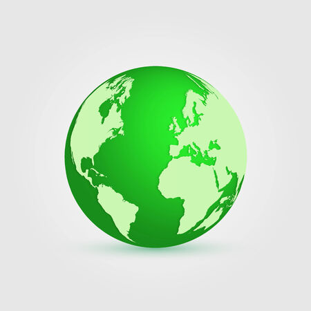 Illustration of a green earth isolated on a white background. Vector