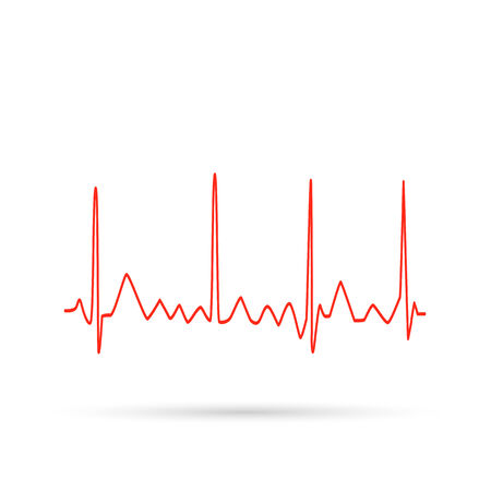 Illustration of an electrocardiogram wave isolated on a white background.