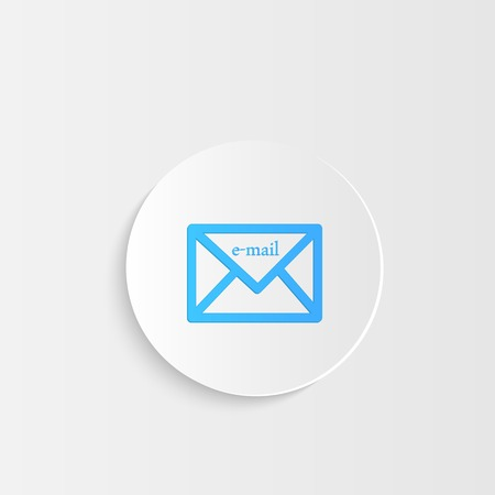 Illustration of an e-mail button with shadow. Vector