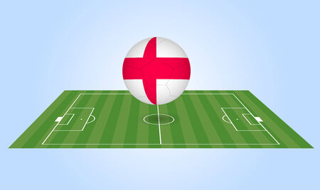 Illustration of an England soccer ball and field. Vector