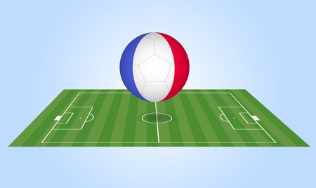 francais: Illustration of a France soccer ball and field.