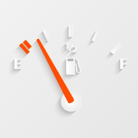 dashboard: Illustration of a gas gage concept with shadows. Illustration
