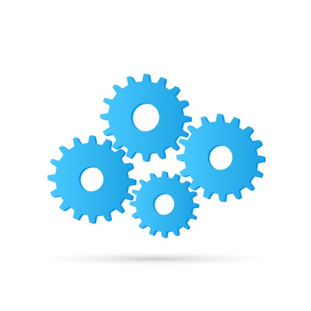 Illustration of colorful gears against a white background. Illustration