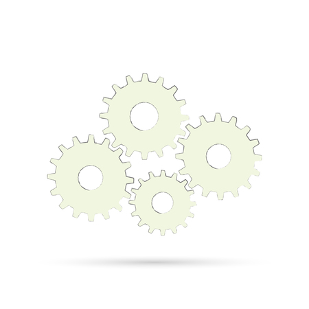 Illustration of gears isolated on a light background.