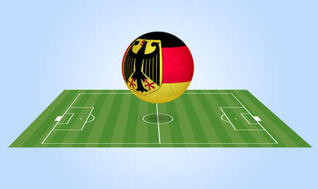 Illustration of a Germany soccer ball and field. Vector