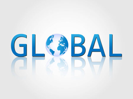 Illustration of the word Global with earth isolated on a white background. Vector