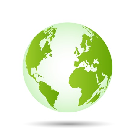 Illustration of a colorful green world globe isolated on a white background. Vector