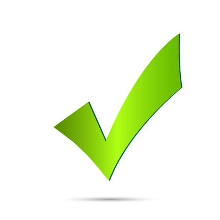 Illustratie van een groen vinkje geà ¯ soleerd op een witte achtergrond. Stockfoto - 29339969
