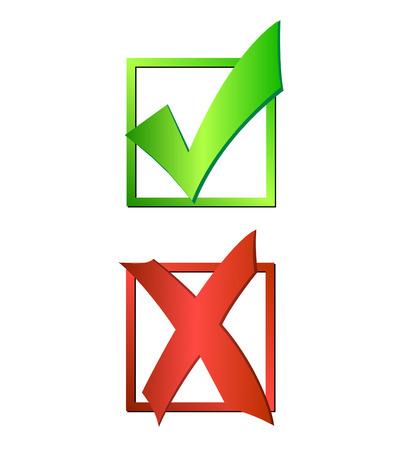 Illustratie van een groen vinkje en rood kruis op een witte achtergrond. Stockfoto - 29339970