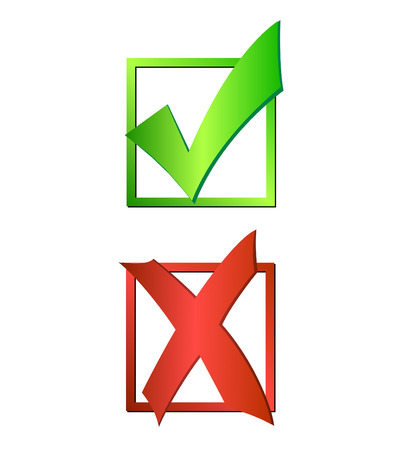 Illustration of a green checkmark and red X isolated on a white background. Vector