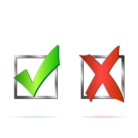 Ilustración de una X de color rojo y la marca de verificación verde aislado en un fondo blanco.