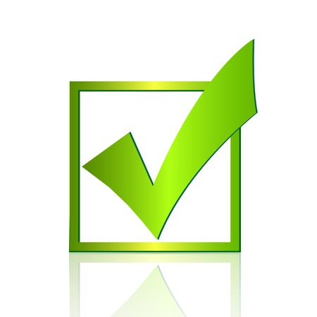 Illustration of a green check mark isolated on a white background. Vector