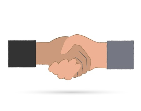 Illustration of a handshake isolated on a white background. Vector