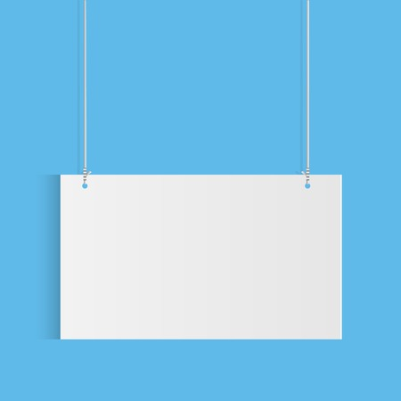 Illustration of a hanging sign against a colorful blue background. Vector