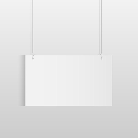 Illustration of a white hanging sign isolated on a light background. Vector
