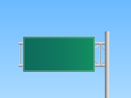 Illustration of a blank highway sign with a blue sky background. Vector