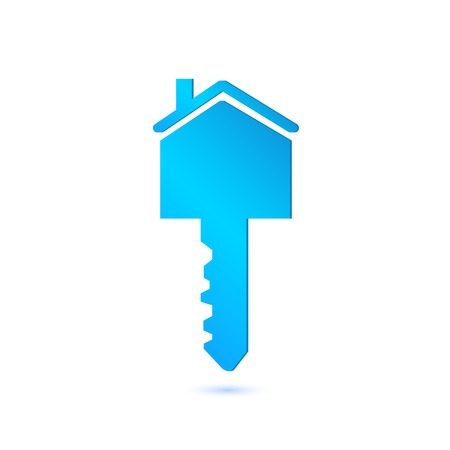 Illustration of a house key isolated on a white background.