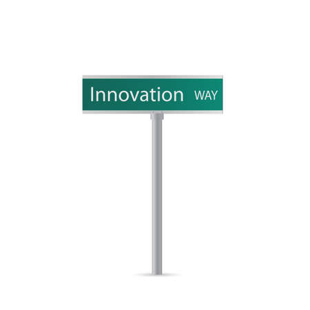 inventive: Illustration of an Innovation sign isolated on a white background.