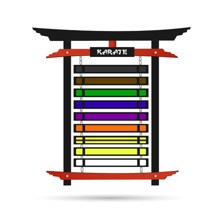 kata: Illustration of a karate belt rack with belts isolated on a white background.