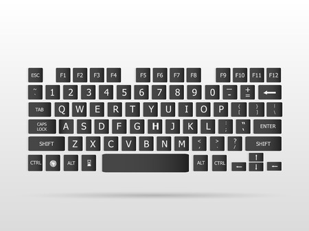 key words: Illustration of a floating keyboard on a white background.