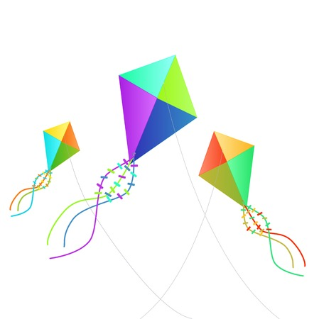 Illustration of kites isolated on a white background. Vector