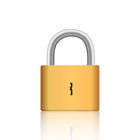 Illustration of a gold lock isolated on a white background. Vector