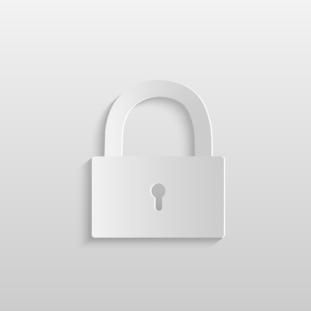 Illustration of a paper lock isolated on a light background. Illustration