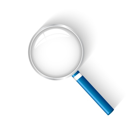 optical glass: Illustration of a magnifying glass isolated on a white background.