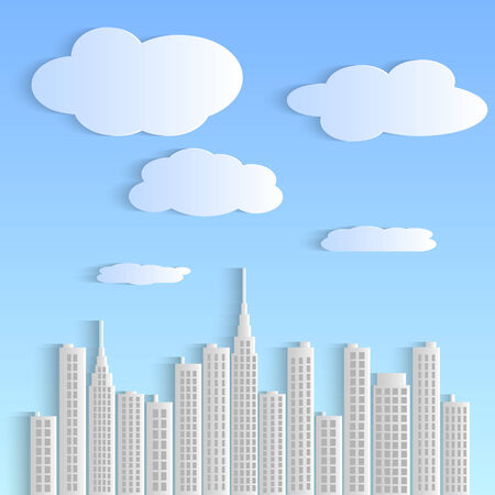 Illustration of a colorful paper city with sky and clouds. Vector