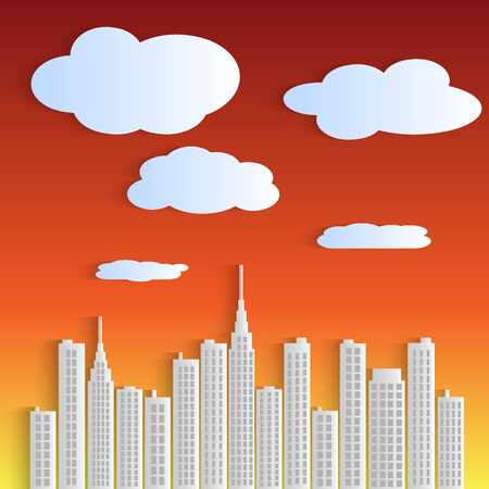 paper cut out: Illustration of a city against a sky at sunset.