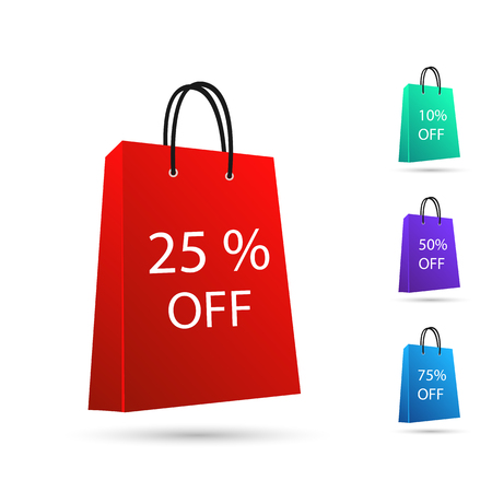 Illustration of various colorful sale shopping bags isolated on a white background.