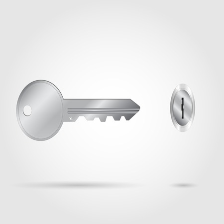 Illustration of a silver key and hole.