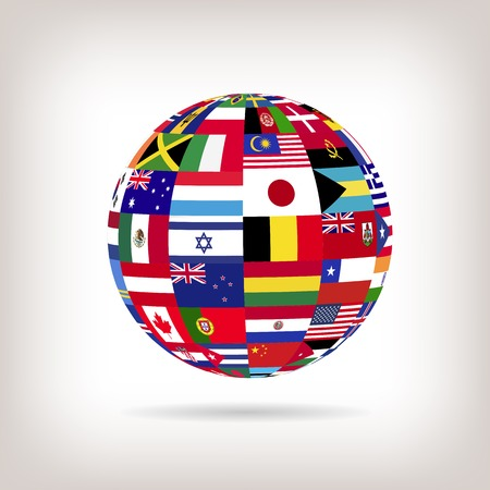 asia pacific: Illustration of a sphere with flags from countries across the world.