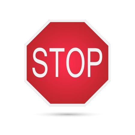 vintage: Illustratie van een stop teken geïsoleerd op een witte achtergrond. Stock Illustratie