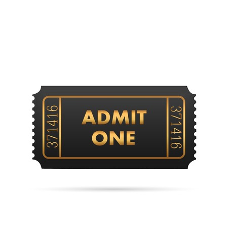 Illustration of a black and gold admit one ticket isolated on a white background.